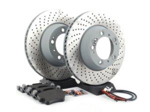 ES#2598695 - 99635240502ROKT3 - Rear Brake Service Kit - Featuring Sebro rotors and Textar brake pads - Assembled By ECS - Porsche