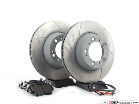 ES#2598697 - 99635240502RPKT3 - Performance Rear Brake Service Kit - Featuring Sebro slotted rotors and Hawk HPS brake pads - Assembled By ECS - Porsche