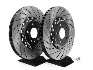 ES#2609284 - 002725ECS01AKT - Front Cross-Drilled & Slotted 2-Piece Brake Rotors - Pair (345x30) - Direct bolt-on replacement - 25% less weight! - ECS - Audi