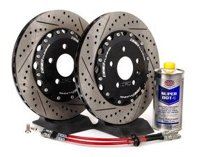 ES#2730486 - 8k0698301mKT5 - Rear Brake Kit - Stage 1 - 2-Piece Cross Drilled & Slotted Rotors (330x22) - Upgrade your brake system with 2-piece rotors and stainless steel lines - ECS - Audi