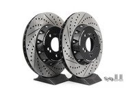 ES#2712816 - 001004ECS02AKT - 2-Piece Lightweight Rear Brake Rotors - Pair (350x24) - Direct bolt-on cross-drilled and slotted replacement - 2-piece semi-floating rotors offer reduced unsprung weight and additional cooling capacity versus OEM for improved braking, handling, and ride quality! - ECS - BMW