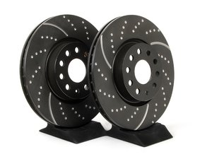 ES#521632 - GD1386 - Front Slotted & Dimpled Brake Rotors - Pair (312x25) - Upgrade to a slotted / dimpled rotor for improved braking - OE# 1K0615301AA - EBC - Audi Volkswagen