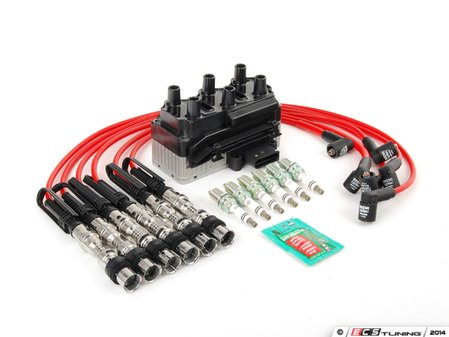 ES#2763053 - 101000035AH - Ignition System Kit - Includes ignition coil, spark plugs, and red spark plug wires - Assembled By ECS - Volkswagen