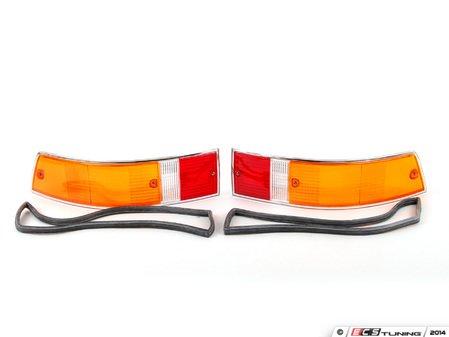 ES#2772120 - 91163192303KT - European Tail Light Lens Set - Chrome-rimmed European lenses with gaskets - Assembled By ECS - Porsche