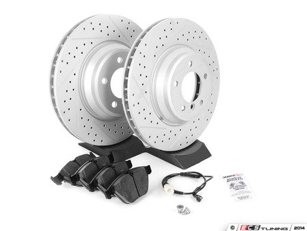 ES#2581703 - E9XPERRPS - Performance Front Brake Service Kit - Featuring ECS GEOMET cross drilled and slotted rotors and Hawk HPS pads - Assembled By ECS - BMW