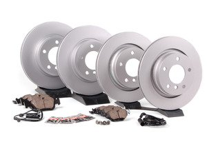 ES#2593155 - 34351164372KT3 - Front And Rear Brake Service Kit - Featuring Meyle coated rotors and Brembo pads - Assembled By ECS - BMW