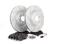 ES#2597366 - 8K0301MXSGMTKT - Performance Front Brake Service Kit - Featuring ECS GEOMET Drilled & Slotted rotors and Hawk HPS pads - Assembled By ECS - Audi