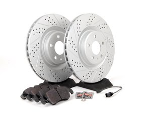 ES#2597366 - 8K0301MXSGMTKT - Performance Front Brake Service Kit - Featuring ECS GEOMET Drilled & Slotted rotors and Hawk HPS pads - Assembled By ECS - Audi