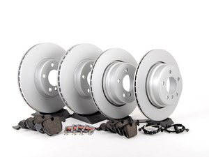 ES#2598306 - ECSE53341121-8KT - Front And Rear Brake Service Kit - Featuring Meyle coated rotors and Pagid pads - Assembled By ECS - BMW