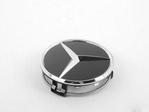 ES#2070130 - 66470200 - Center Cap - Priced Each - Clip-In Center Cap With Black Background & Chrome Three-Pointed Star - Genuine Mercedes Benz - Mercedes Benz