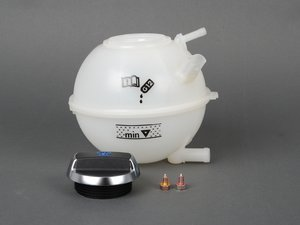ES#2597343 - 42012132118T - Expansion Tank Replacement Kit - Complete Assembly With Porsche Cap - Add some style with this reservoir kit which includes an aluminum Porsche coolant cap! - Assembled By ECS - Audi Volkswagen