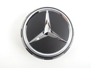 ES#2717770 - 00040009009283 - Center Cap - Priced Each - Clip-in center cap with chrome star on black background, with black surround - Genuine Mercedes Benz - Mercedes Benz