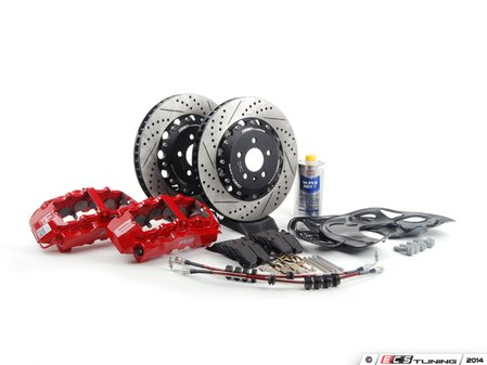 ES#2777620 - 8T0615107CKT -  Front Big Brake Kit - Stage 3 - 2-Piece Rotors (365x34) - Featuring Red RS5 8-piston calipers, ECS stainless steel lines & Hawk HPS pads - ECS - Audi