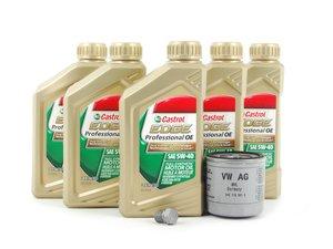 ES#2784537 - 04e115561hKT - Oil Service Kit  - Includes OEM Castrol Oil, OEM Filter, And OEM Drain Plug - Genuine Volkswagen Audi - Volkswagen