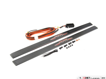 ES#250421 - 51470444200 - Illuminated JCW Stainless Door Sill Kit - (NO LONGER AVAILABLE) - Newer JCW logo style door sill that lights up - Genuine MINI -