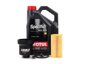 ES#2784804 - 20TPRMKTOILKT4 - Oil Service Kit - With Magnetic Drain Plug & Black Aluminum Oil Filter Housing - Includes Motul Specific oil, filter, magnetic drain plug, and black aluminum filter housing - Assembled By ECS - Audi Volkswagen