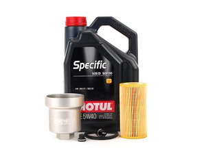 ES#2784763 - 20TPRMKTOILKT2 - Oil Service Kit - With Magnetic Drain Plug & Silver Aluminum Oil Filter Housing - Includes Motul Specific oil, filter, magnetic drain plug, and aluminum filter housing - Assembled By ECS - Audi Volkswagen