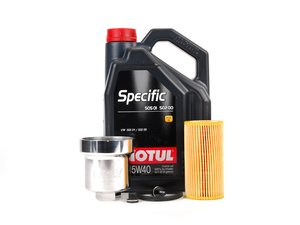 ES#2784801 - 20TPRMKTOILKT3 - Oil Service Kit - With Magnetic Drain Plug & Polished Aluminum Oil Filter Housing - Includes Motul Specific oil, filter, magnetic drain plug, and polished aluminum filter housing - Assembled By ECS - Audi Volkswagen