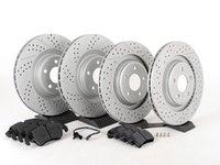 ES#2597368 - 8K0301MXSGMTKT1 - Performance Front & Rear Brake Service Kit - Featuring ECS GEOMET Drilled & Slotted rotors and Hawk HPS pads - Assembled By ECS - Audi
