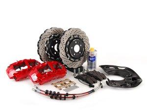 ES#2784815 - 8T0615108KT3 -  Front Big Brake Kit - Stage 3 - 2-Piece Wave Rotors (365x34) - Featuring Red RS5 8-piston calipers, ECS stainless steel lines, ECS 2-piece Tru-Float wave rotors & Hawk HPS pads - ECS - Audi