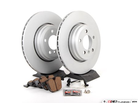 ES#2781283 - 34211166129kt2 - Rear Brake Service Kit - Featuring Meyle coated rotors and Akebono pads - Assembled By ECS - BMW