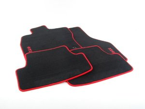 ES#2738222 - 5G1061370AWGK - Mojo Mats - Black / Red Piping - Keep your interior showroom fresh with a set of four carpeted black floor mats with red piping and red GTI lettering - Genuine Volkswagen Audi - Volkswagen