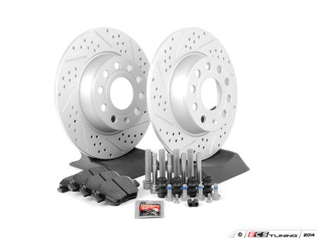 ES#2725372 - 1K0698601AHFKT - Performance Rear Brake Service Kit (272x10) - Featuring ECS GEOMET cross drilled and slotted rotors and Hawk HPS pads - Assembled By ECS - Volkswagen