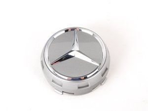 ES#2715834 - 00040009009790 - Center Cap - Priced Each - Clip-in center cap with chrome star on black background, with silver surround - Genuine Mercedes Benz - Mercedes Benz