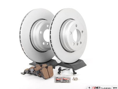 ES#2781285 - 34216765889kt2 - Rear Brake Service Kit - Featuring Meyle coated rotors and Akebono pads - Assembled By ECS - BMW