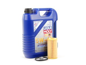 ES#1848568 - 20TPRMOIL -  Oil Service Kit - Premium - Includes Liqui Moly Leichtlauf High Tech oil, Hengst filter, and drain plug - Assembled By ECS - Audi Volkswagen