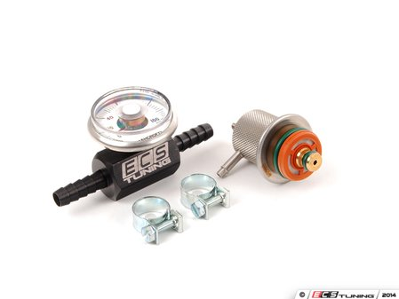 ES#5705 - 000198501BLK - Adjustable Fuel Pressure Regulator & Gauge Kit - Works as a replacement for most Bosch fuel pressure regulators. Adjustable from 25psi - 75psi - ECS - Audi Volkswagen