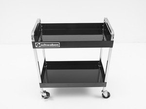 ES#2763365 - 005947SCH01A - Professional Quality Deluxe Two Shelf Service Cart - Features a chrome plated heavy-duty 16 gauge steel box frame with two handles and caster on frame construction - Schwaben - Audi BMW Volkswagen Mercedes Benz MINI Porsche