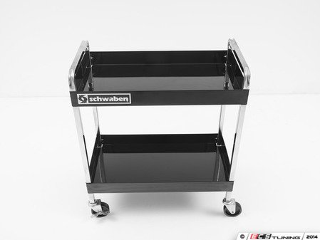 ES#2763365 - 005947SCH01A - Professional Quality Deluxe Two Shelf Service Cart - (NO LONGER AVAILABLE) - Features a chrome plated heavy-duty 16 gauge steel box frame with two handles and caster on frame construction - Schwaben -