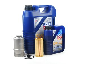 ES#2785332 - 06L1155KT2BLTKT9 -  Oil Service Kit - With Silver Billet Aluminum Oil Filter Housing  - Includes Liqui-Moly 5W-40 Synthetic engine oil, Genuine Oil Filter and an ECS billet filter housing - Assembled By ECS - Audi Volkswagen