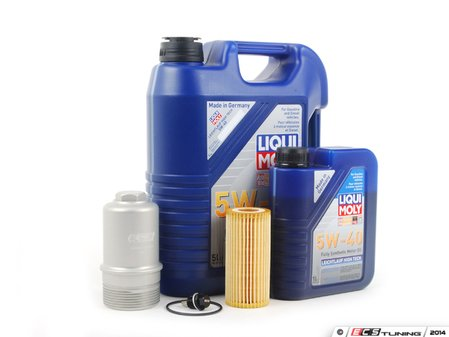 ES#2785339 - 06K115562SVCKT27 - Oil Service Kit - With Magnetic Drain Plug & Silver Billet Aluminum Oil Filter Housing  - Includes Liqui-Moly 5W-40 Synthetic engine oil, Genuine Oil Filter and an ECS billet filter housing - Assembled By ECS - Volkswagen