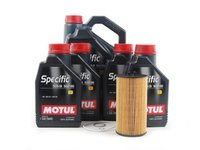 ES#1891962 - B6B7S43KSKPR - Oil Service Kit - Premium - Includes 9 liters of Motul Specific Synthetic Oil (5w-40), oil filter, and drain plug sealing washer - Assembled By ECS - Audi Volkswagen