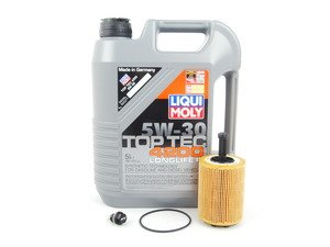 ES#2785125 - MK5TDIOILKT6 -  Oil Service Kit - With ECS Magnetic Drain Plug - Includes oil filter and Liqui Moly 5w-30 oil - Assembled By ECS - Volkswagen