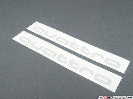 ES#3243610 - 4G0064317AZ7G - 'Quattro' Script Door Graphics Kit - Ice silver Metallic - Includes dimensional guides for proper installation and surface prep instructions - Genuine Volkswagen Audi - Audi