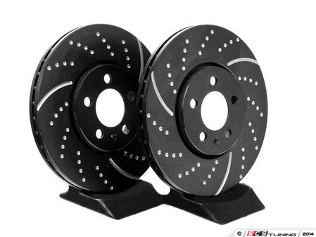 ES#522208 - GD818 - Front Slotted & Dimpled Brake Rotors - Pair (288x25) - Upgrade to a slotted / dimpled rotor for improved braking - EBC - Volkswagen