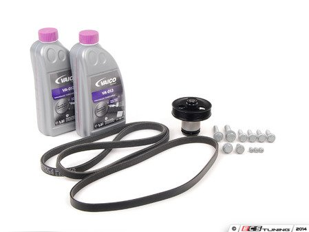 ES#2792992 - 07K121011BKT8 - Water Pump Replacement Kit - Featuring URO water pump and Mitsuboshi drive belts - Assembled By ECS - Volkswagen