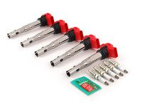 ES#2538683 - 06E905115EK5CL - Ignition Service Kit - Includes five OE red coil packs and five NGK spark plugs - Assembled By ECS - Volkswagen