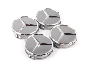 ES#2749194 - 22040001259771KT - Center Cap - Set Of Four - Chrome Star On Titanium Grey Background - Genuine Mercedes Benz - Mercedes Benz