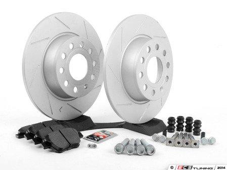 ES#2725371 - 1K0698601AHRKT - Performance Rear Brake Service Kit (272x10) - Featuring ECS GEOMET slotted rotors and Hawk HPS pads - Assembled By ECS - Volkswagen