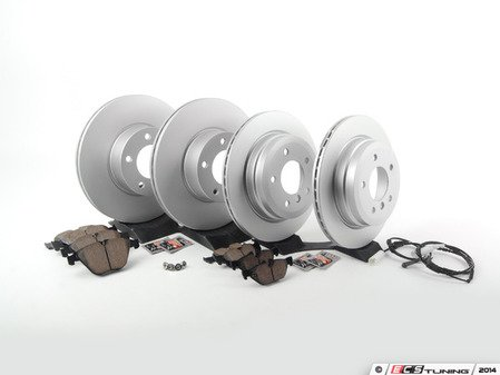 ES#2766105 - 34116855006KT4 - Front & Rear Brake Service Kit - Featuring Zimmermann rotors and Akebono pads - Assembled By ECS - BMW