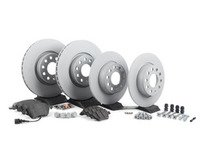 ES#2597952 - 1K0615301AA4B - Front & Rear Brake Service Kit (312x25/272x10) - Featuring Zimmermann rotors and Textar pads. - Assembled By ECS - Volkswagen