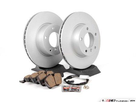 ES#2770199 - 34116854998KT8 - Front Brake Service Kit - Featuring Zimmermann Brake Rotors and Akebono Ceramic Pads - Assembled By ECS - BMW