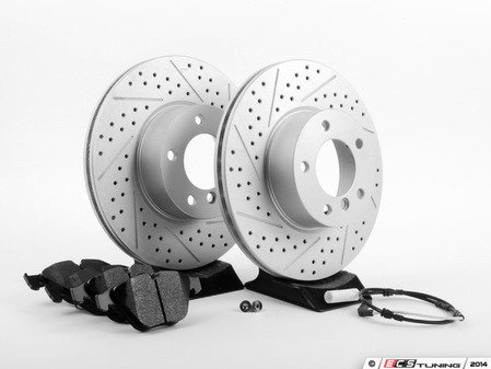 ES#2770196 - 34116855006KT7 - Performance Front Brake Service Kit - Featuring ECS GEOMET cross drilled and slotted rotors and Hawk HPS pads - Assembled By ECS - BMW