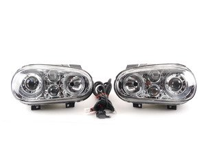 ES#9566 - fkfsvw101 - OE HID Replica Projector Headlight Set - Chrome - With fog lights and angel eyes - FK - Volkswagen