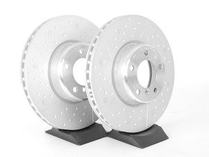 ES#2568631 - 34106797602kt - Front Cross Drilled & Slotted Brake Rotors - Pair - Race quality braking option from the factory, cross drilled & slotted brake rotors (340x30) - Genuine BMW - BMW