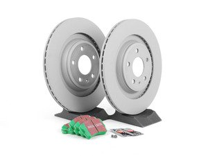 ES#2597363 - 8K0615601CKT -   Rear Brake Service Kit - Featuring Zimmerman rotors and EBC GreenStuff pads - Assembled By ECS - Audi